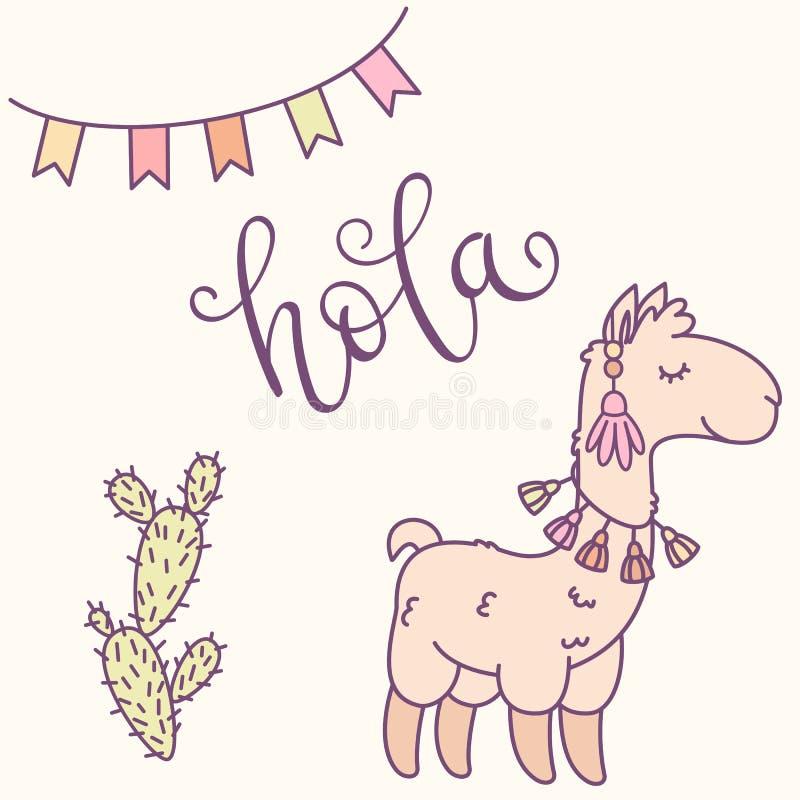 """Llama, κάκτων και εμβλημάτων απεικόνιση κινούμενων σχεδίων Εγγραφή χεριών στο ισπανικό """"hola """" ελεύθερη απεικόνιση δικαιώματος"""