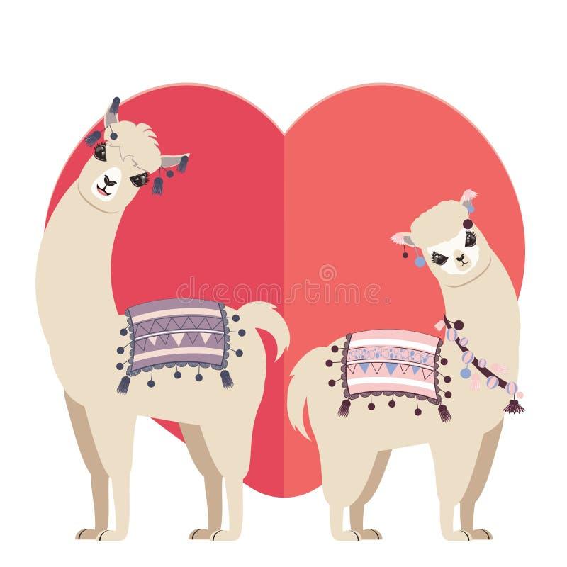 Llama και προβατοκαμήλου χαιρετισμοί ελεύθερη απεικόνιση δικαιώματος