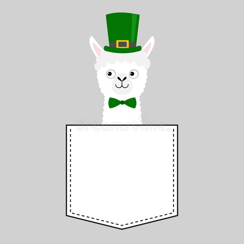 Llama κεφάλι προσώπου προβατοκαμήλου στην τσέπη Πράσινη ημέρα του Πάτρικ καπέλων κινούμενα σχέδια ζώων χαρι&t Χαρακτήρας Kawaii Γ απεικόνιση αποθεμάτων