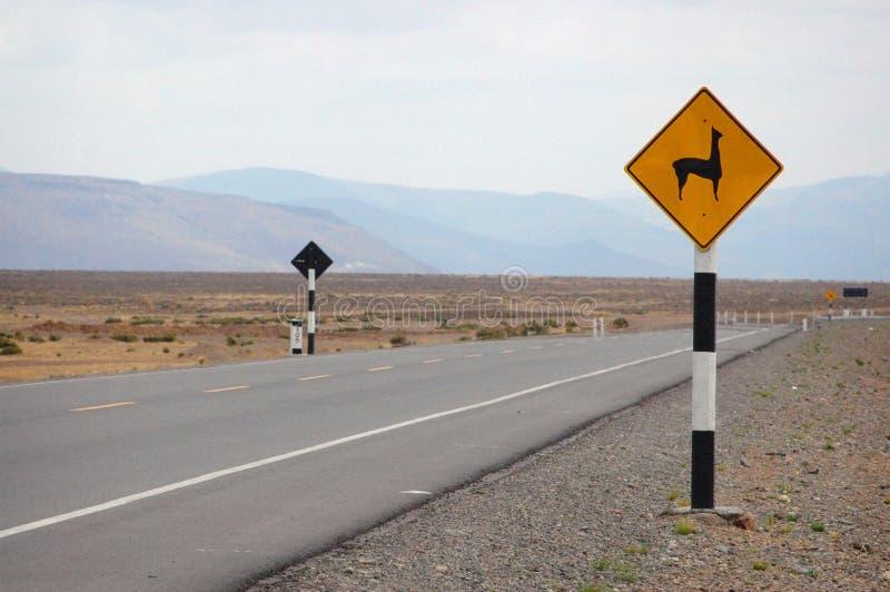 Llama οδικό σημάδι στο Περού, Άνδεις, Νότια Αμερική στοκ φωτογραφία με δικαίωμα ελεύθερης χρήσης
