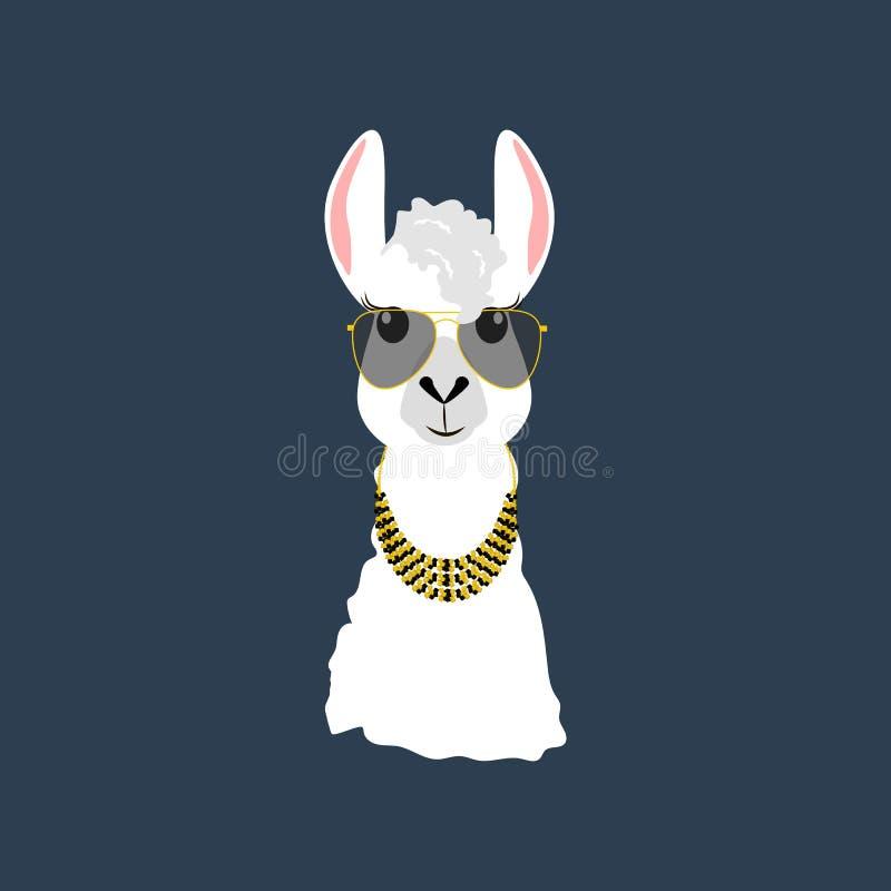 Llama στα γυαλιά αεροπόρων ελεύθερη απεικόνιση δικαιώματος