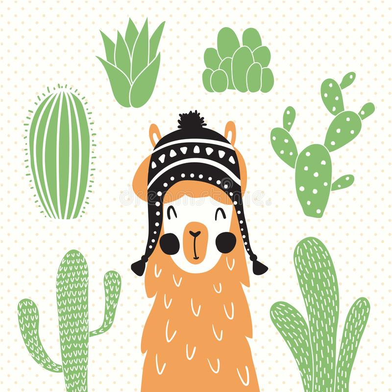 Llama στο σομπρέρο ελεύθερη απεικόνιση δικαιώματος