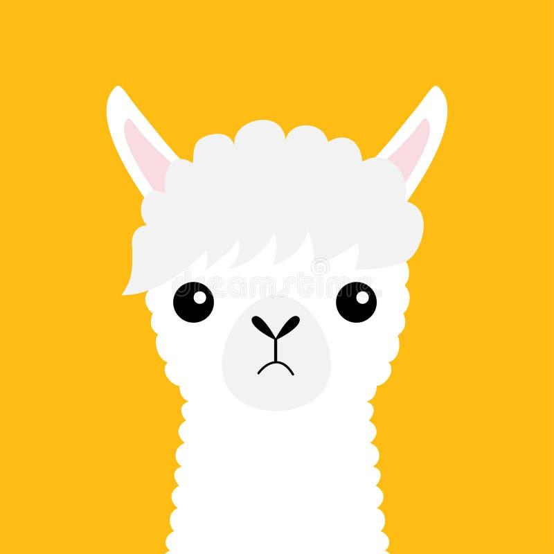 Llama alpaca animal face neck. Cute cartoon funny kawaii character. Fluffy fur. Long hair. Childish baby collection. T-shirt, gree stock illustration