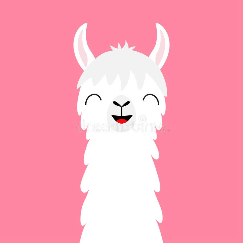 Llama alpaca animal face neck. Fluffy hair fur. Cute cartoon funny kawaii smiling character. Childish baby collection. T-shirt, gr stock illustration