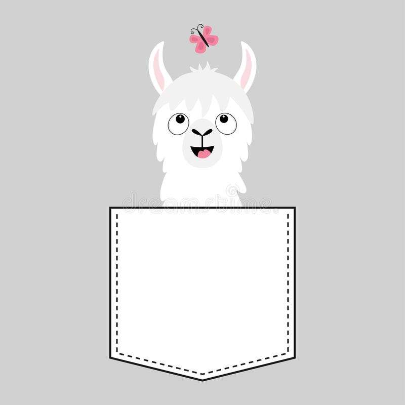 Llama alpaca face head in the pocket. Butterfly. Cute cartoon animals. Kawaii character. Dash line. White and black color. T-shirt. Design. Baby gray background royalty free illustration
