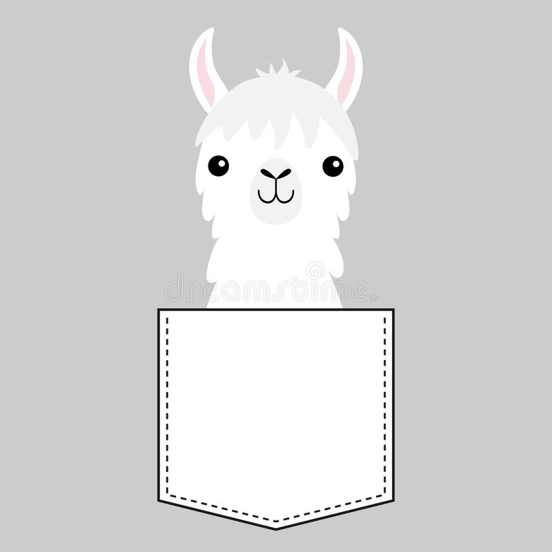 Llama alpaca face head in the pocket. Cute cartoon animals. Dash line. Kawaii character. White and black color. T-shirt design. royalty free illustration