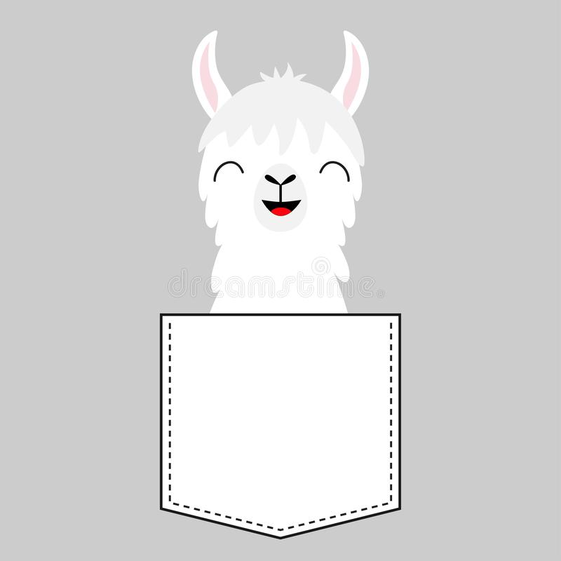 Llama alpaca face head in the pocket. Cute cartoon baby animal. Dash line. Kawaii character. White and black color. T-shirt design. Gray background. Isolated royalty free illustration