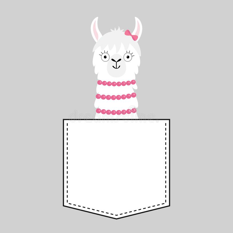 Llama alpaca face head in the pocket. Pink bow. Cute cartoon animals. Dash line. Kawaii character. White and black color. T-shirt. Design. Baby gray background vector illustration