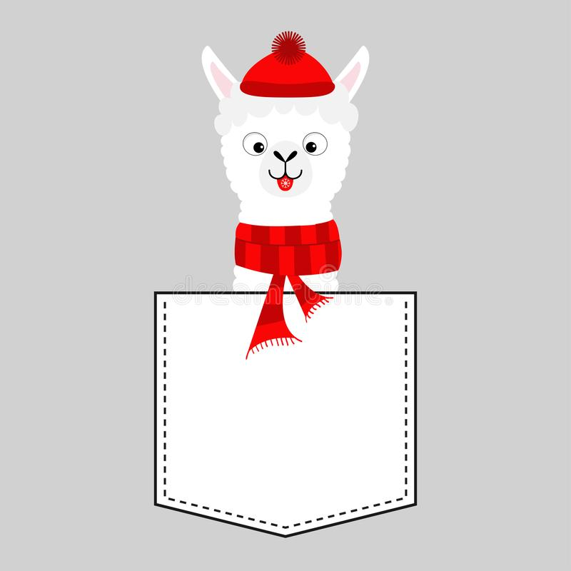Llama alpaca face head in the pocket. Red hat, scarf. Cute cartoon animals. Dash line. Kawaii character. White and black color. T-. Shirt design. Baby gray stock illustration