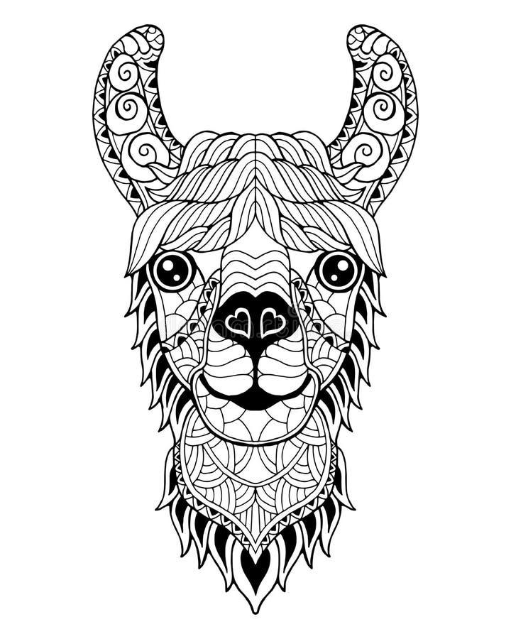 Llama Alpaca mandala zentangle stylized. Freehand vector illustration. royalty free stock image