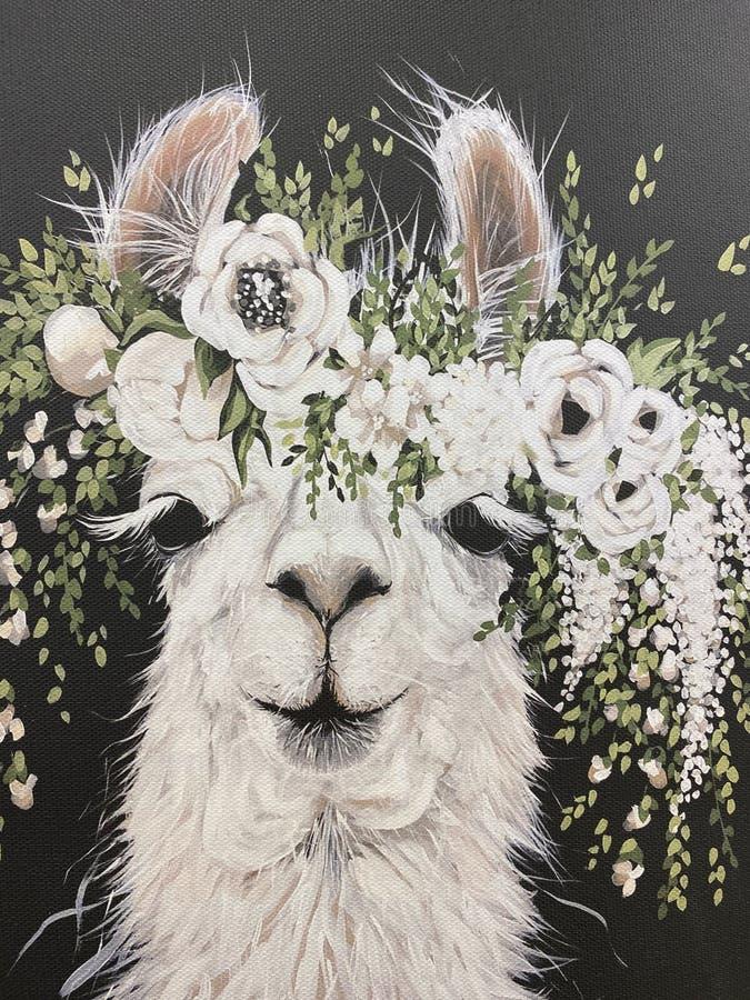 Llama alpaca z kwiatami na ciemnym tle obraz stock