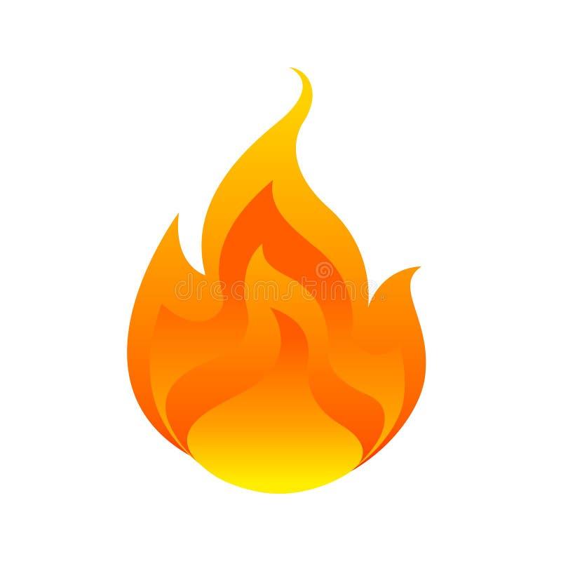 Llama, bola de fuego aislada en el fondo blanco, símbolo de la quemadura del fuego, icono de las llamas, logotipo el flamear, ej libre illustration