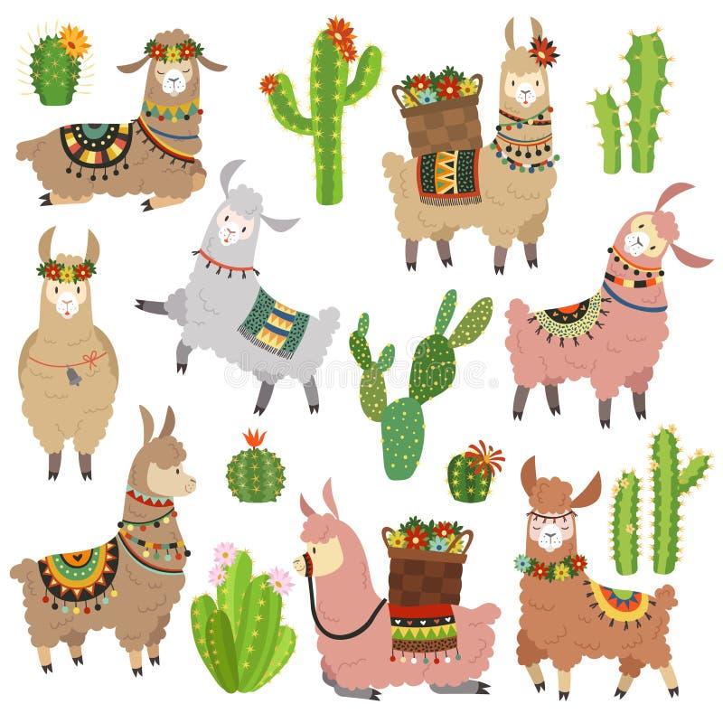 Llama cactus. Chile llamas alpaca and cacti wild lama. Peru camel, girl scrapbook kids funny elements cartoon vector set vector illustration