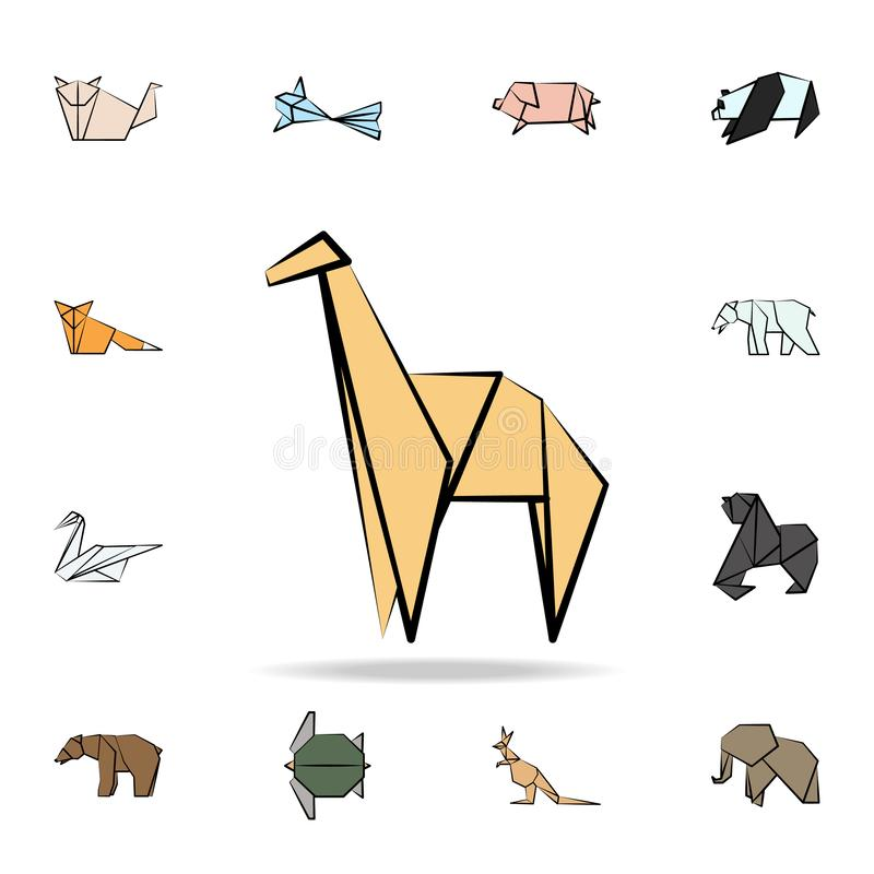 Llama colored origami icon. Detailed set of origami animal in hand drawn style icons. Premium graphic design. One of the. Collection icons for websites, web stock illustration
