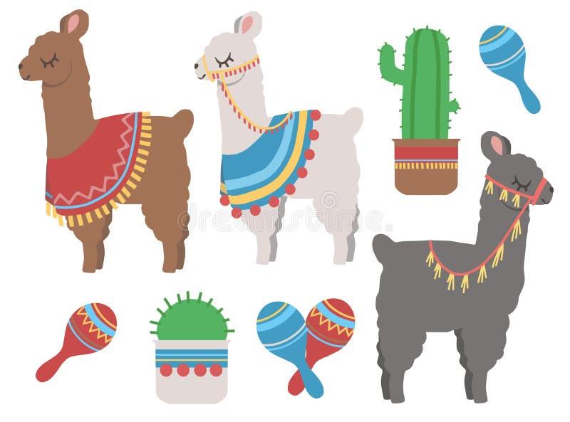 Llama colorida linda de la historieta con el cactus y el sistema mexicano del ejemplo del diseño gráfico de la coctelera de la ru stock de ilustración