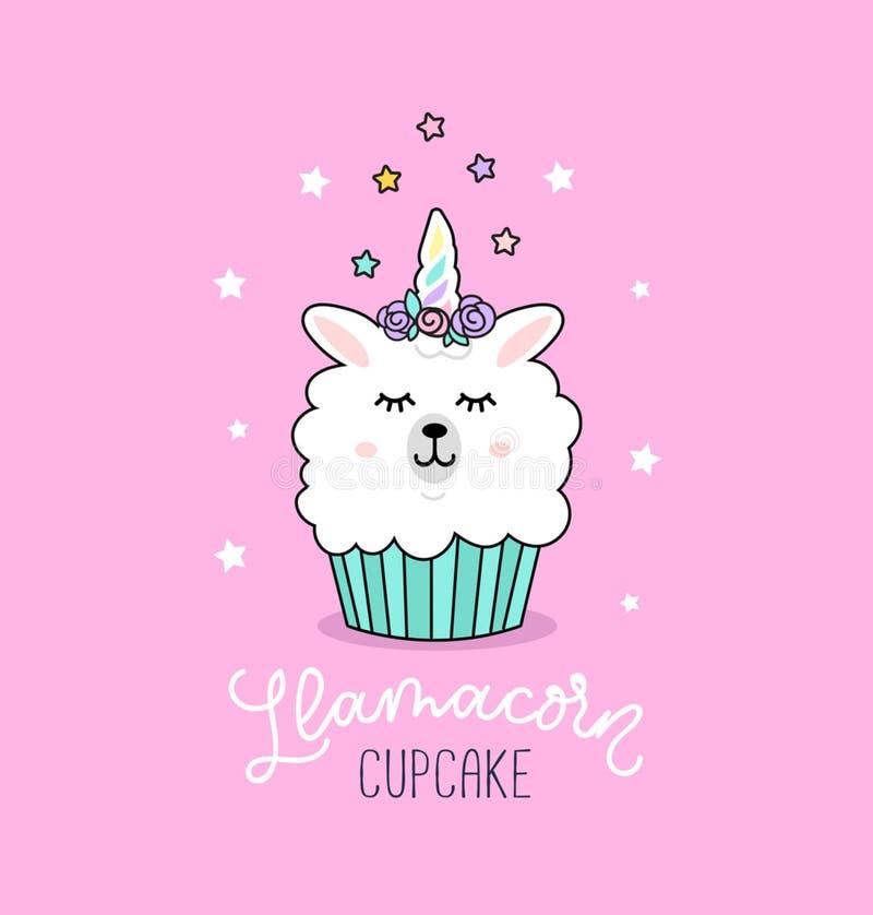 Llama cupcake cute illustration with unicorn llama and stars. royalty free illustration