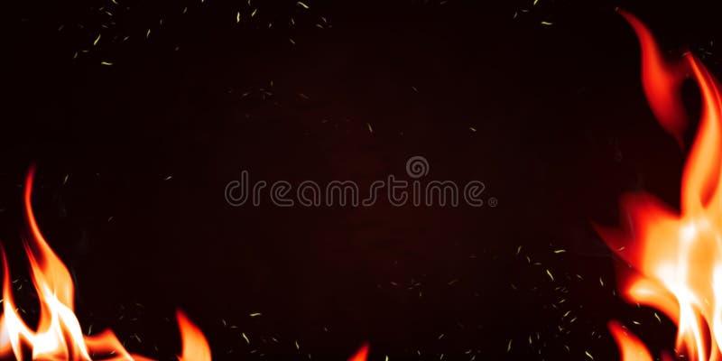Llama de fuego caliente con explosión de chispa quemándose en fondo oscuro. Resumen del marco de fuego para el diseño foto de archivo libre de regalías