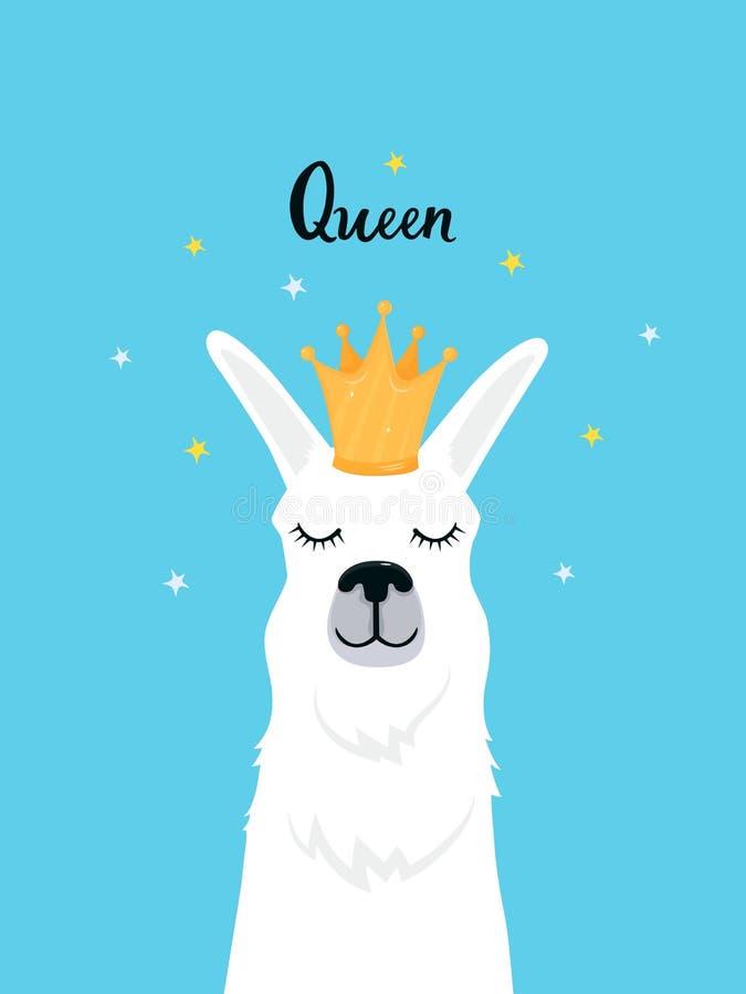 Llama en una corona de oro Alpaca adorable Letras de la mano de la reina Impresión infantil para el cuarto de niños, cartel, cami ilustración del vector
