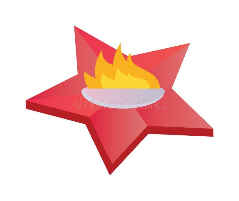 Llama eterna que simboliza la victoria en gran guerra patriótica Ejemplo plano del vector de la memoria del fuego eterno de la es stock de ilustración