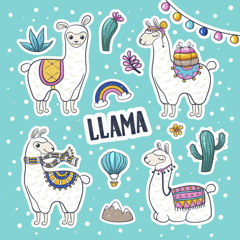 Llama hand drawn vector illustration