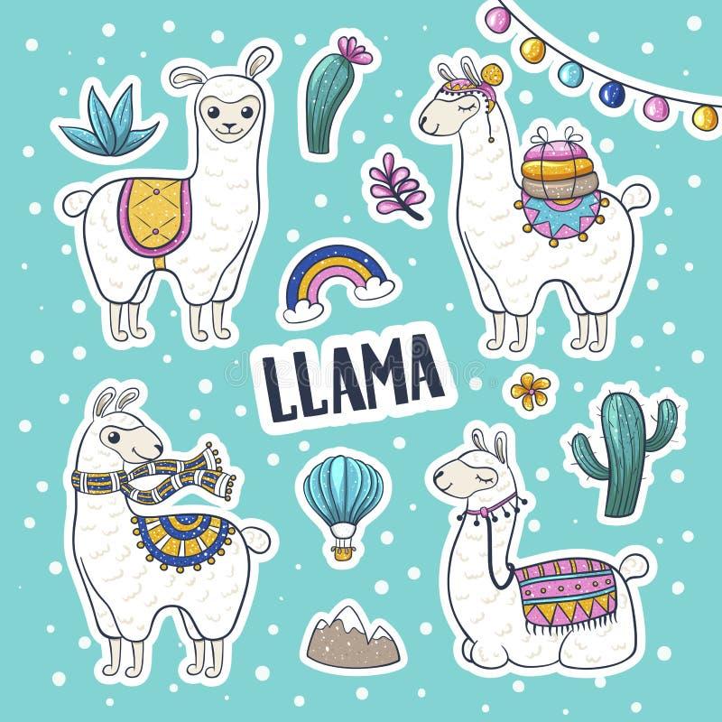 Llama hand drawn vector illustration