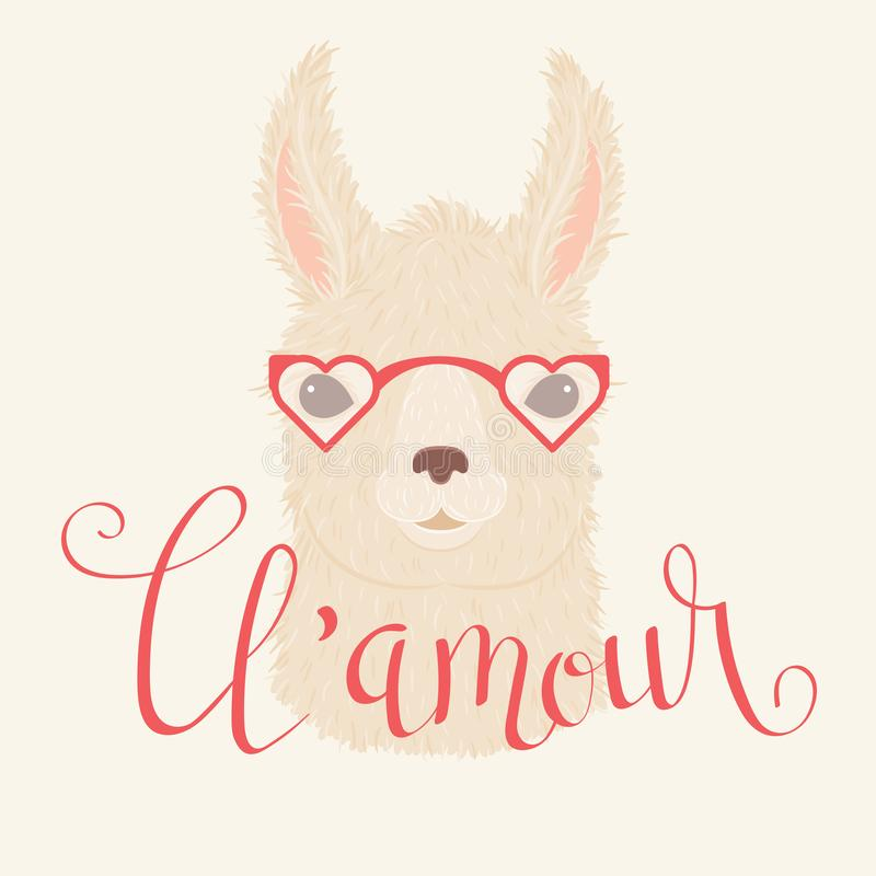 Llama in heart shaped glasses vector illustration vector illustration