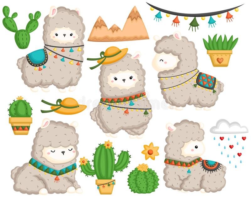 Llama image set stock illustration