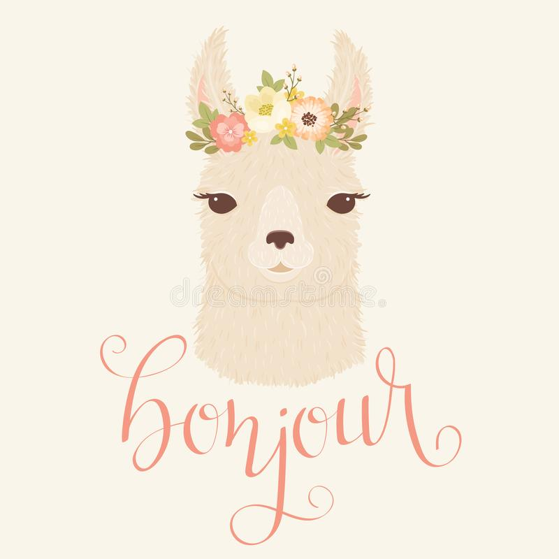 Free Llama In A Floral Wreath Vector Illustration. Stock Photo - 114228330