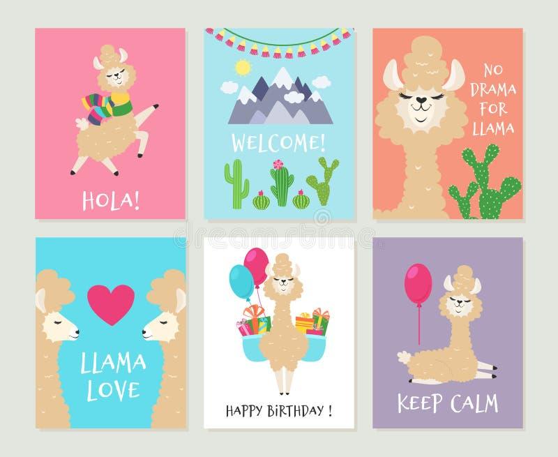 Llama invitations. Cute alpaca birthday greeting card. Cartoon funny pink lamas girls backgrounds royalty free illustration