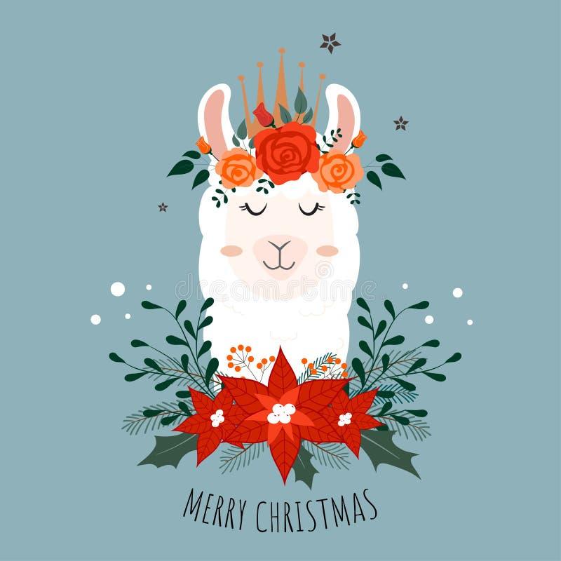 Llama linda de la Navidad con la corona de la flor ilustración del vector
