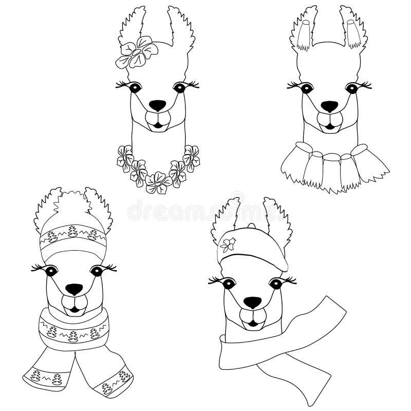 Llama linda en diversos estilos Llama negro-blanca linda para colorear, impresión infantil para la tela, camiseta, tarjeta Vector fotos de archivo libres de regalías