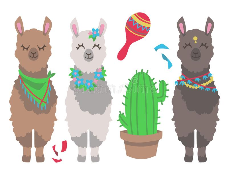 Llama o alpaca colorida linda de la historieta con el cactus y el sistema mexicano del ejemplo del vector del diseño gráfico de l ilustración del vector