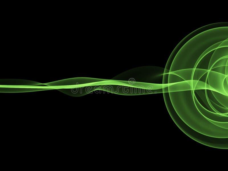 llama ondulada verde abstracta del humo sobre fondo negro fotos de archivo libres de regalías