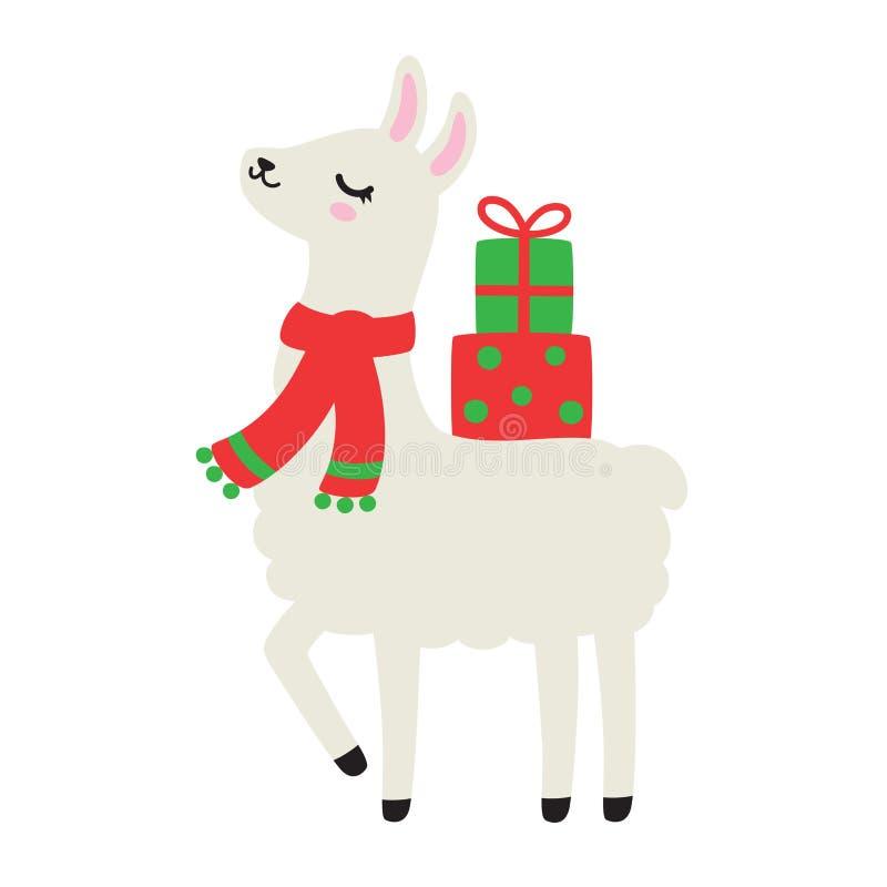 Free Llama Or Alpaca Carrying Christmas Gift Presents Vector Illustration Stock Photography - 126508902