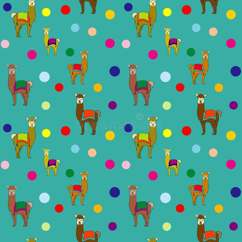 Llama Polka Dots Repeat Seamless Pattern Vector royalty free illustration