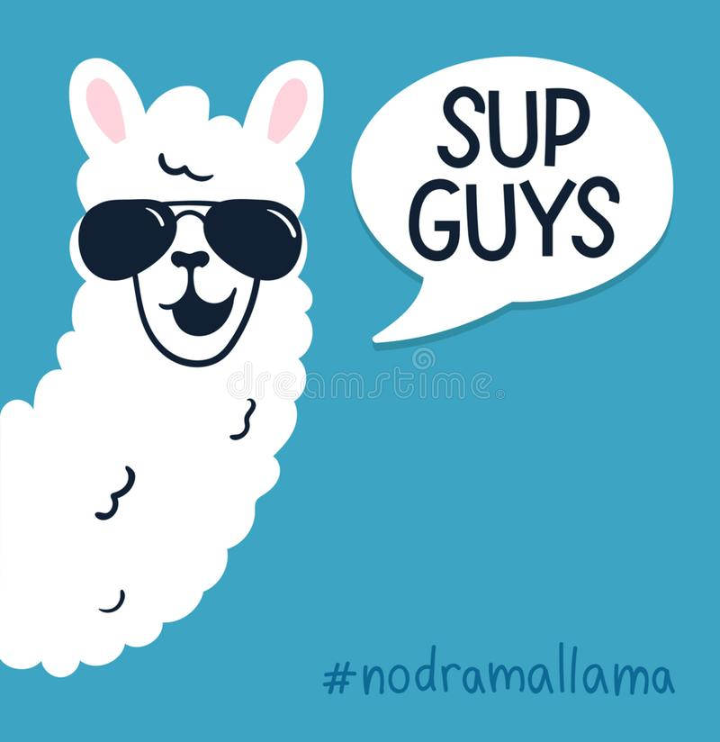 Free Llama Poster With Inscription `sup Guys` Stock Photos - 121720353