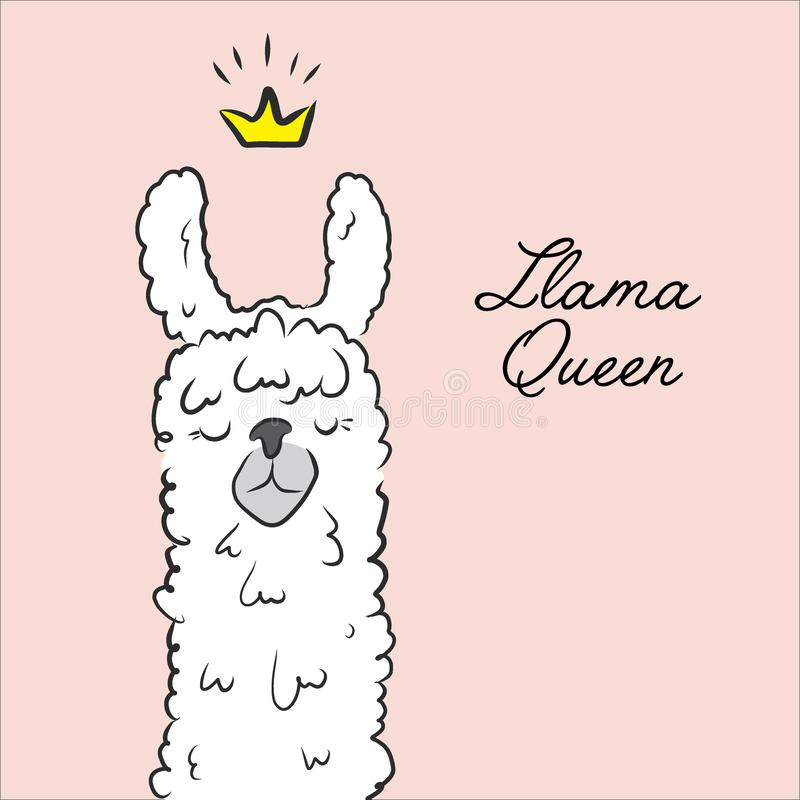 Llama queen drawing. Animal cute cartoon alpaca with crown illustration. Cartoon kids character. Cool slogan text. stock illustration