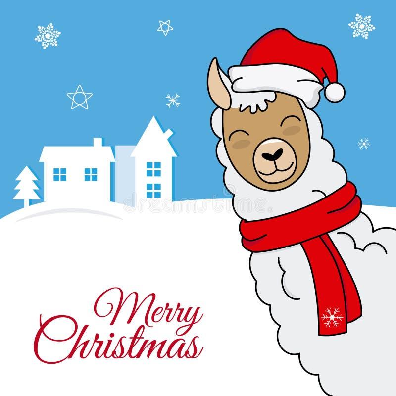 Llama with santa claus hat vector illustration