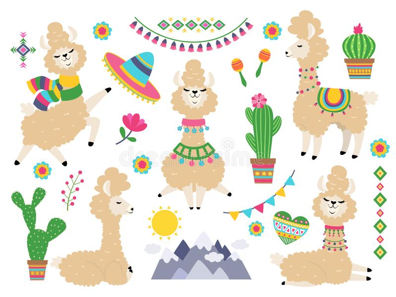 Llama set. Baby llamas cartoon alpaca, wild lama. Girl invitation elements vector stock illustration