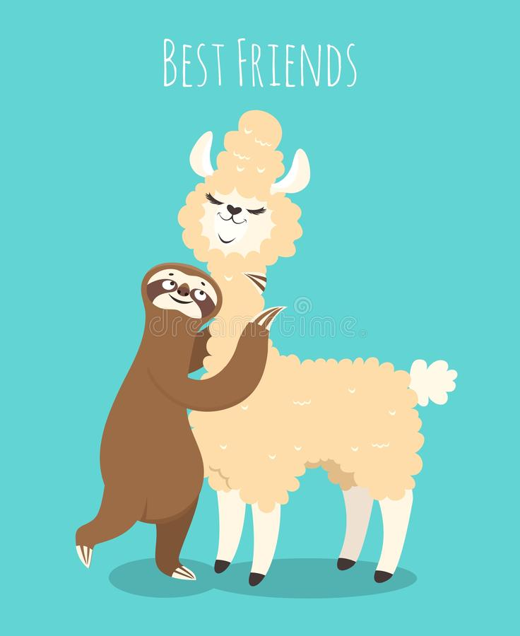 Llama and sloth. Alpaca with sloth lazy bear. Baby t-shirt design, funny poster royalty free illustration