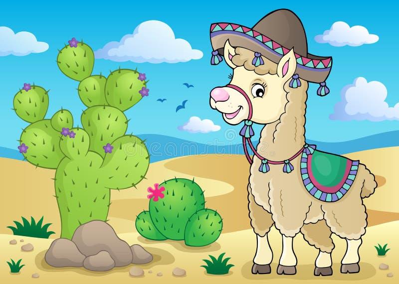Llama in sombrero theme 2 royalty free illustration
