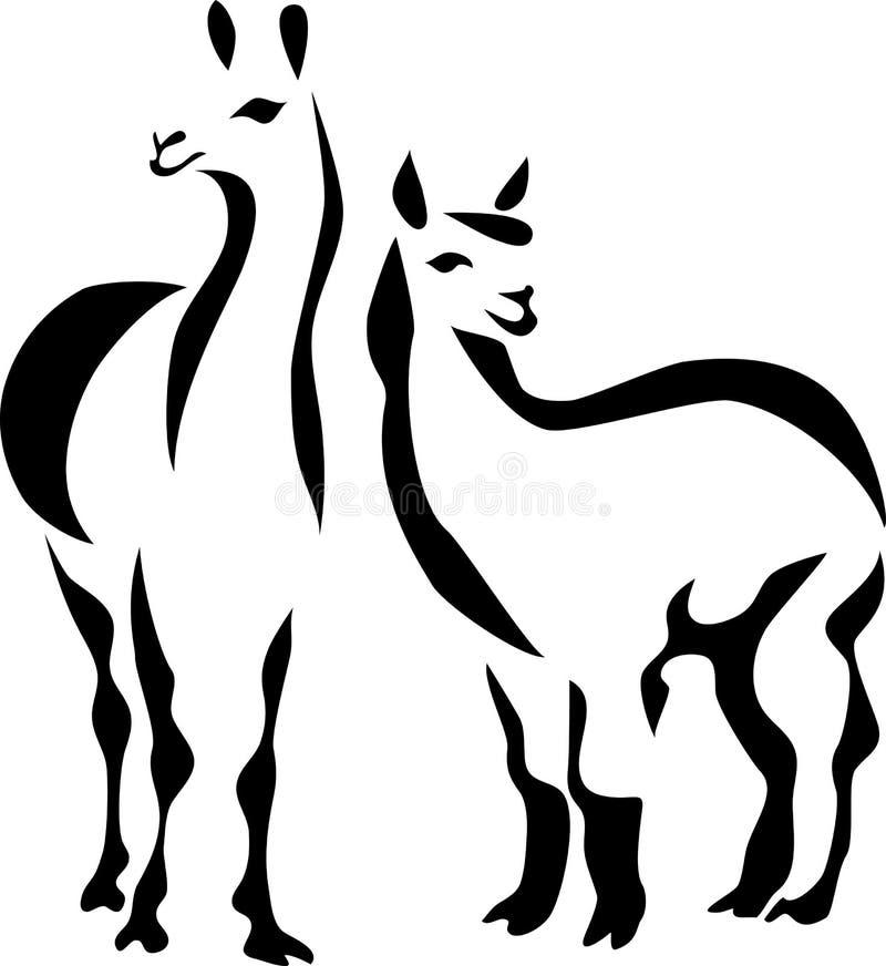 Llama. Stylized black and white illustration
