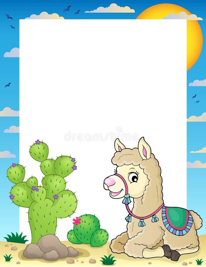 Llama theme frame 2 stock illustration