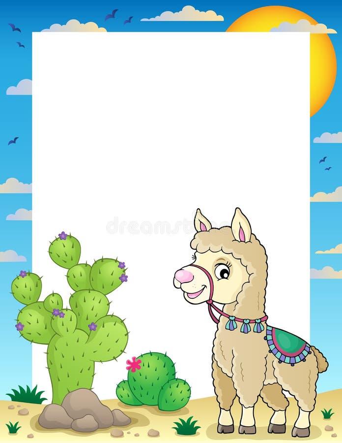 Llama theme frame 1 vector illustration
