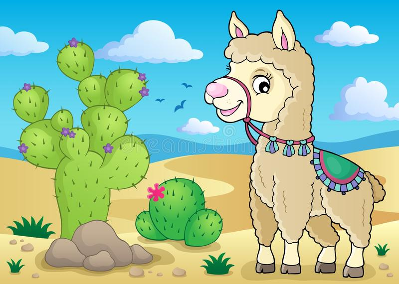 Llama theme image 1 stock illustration