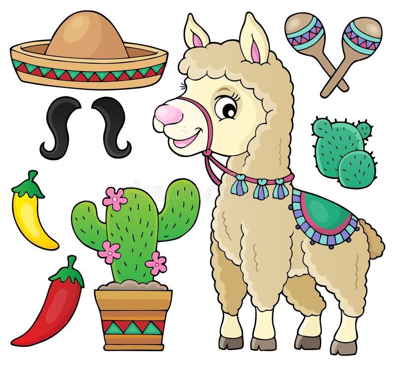 Llama and various objects set 1. Eps10 vector illustration stock illustration