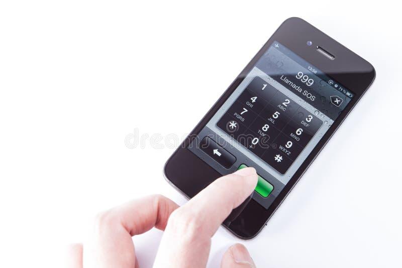 Llamada de emergencia de IPHONE 4S SOS imágenes de archivo libres de regalías