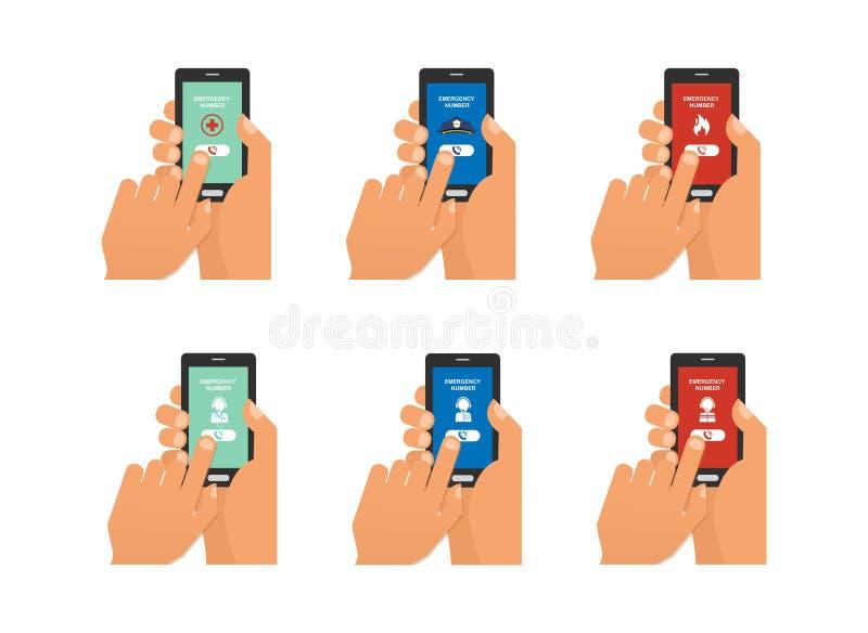 Llamada de emergencia móvil con la mano que sostiene smartphone ilustración del vector