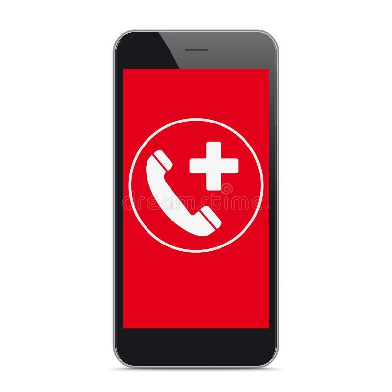 Llamada de emergencia roja negra de la pantalla de Smartphone stock de ilustración