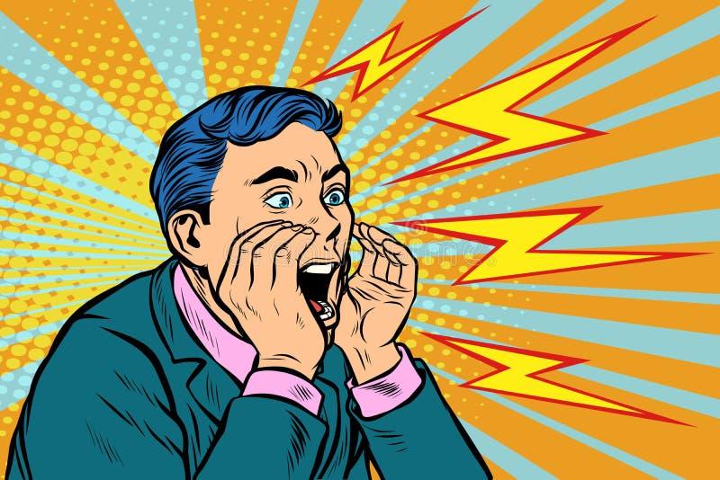 Llamada de griterío del hombre, arte pop stock de ilustración